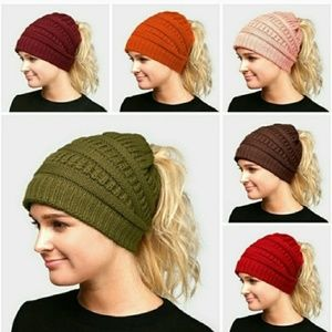 Messy Bun Ponytail Beanie (color options)